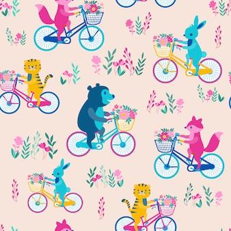プリントアニマル自転車ピンク