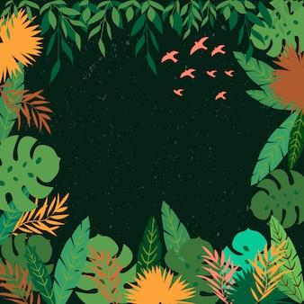 熱帯の葉のフレーム。ジャングルボーダー