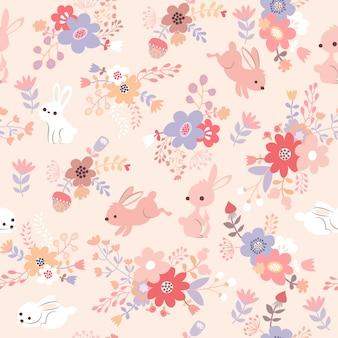 Печать розового рисунка кролика