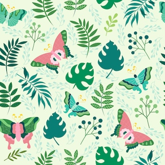 蝶のシームレスパターンベクトルデザインイラストを印刷します。