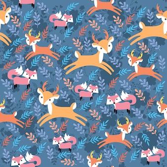 プリント鹿キツネ