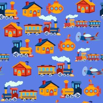 Печать игрушечный поезд бесшовный фон
