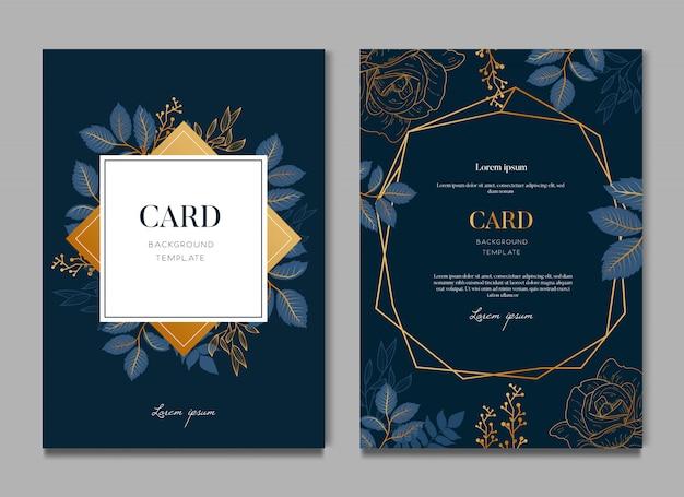 エレガントな青い花のウェディングカード