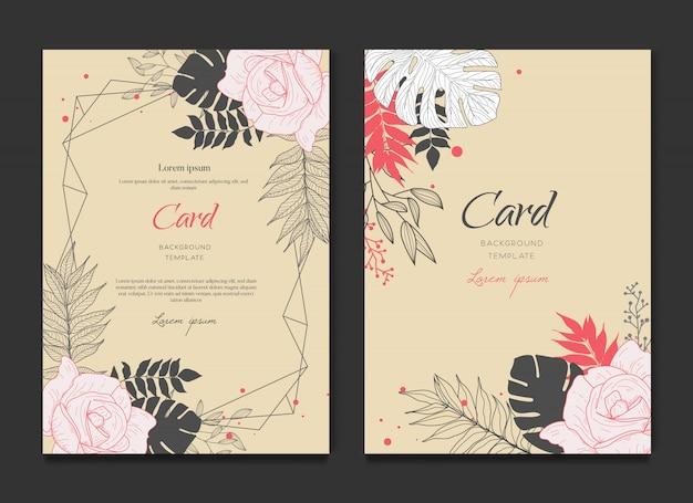 レトロな花カードの招待状