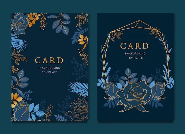 エレガントなブルーの花柄カードデザイン