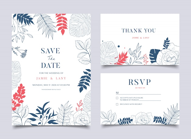 花の結婚式のカードと招待状
