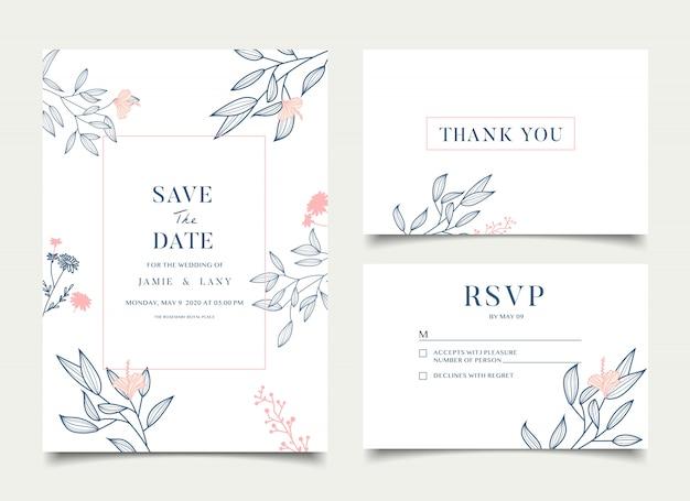 Простая цветочная свадебная открытка