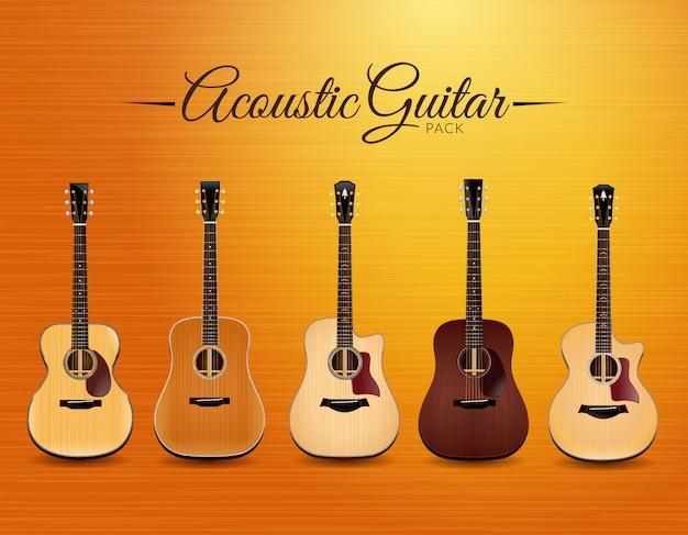 Реалистичная коллекция акустической гитары