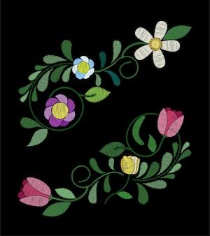 刺繍チューリップ花のデザイン