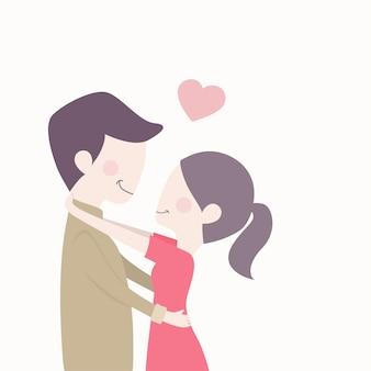 Милая влюбленная пара с красным сердцем