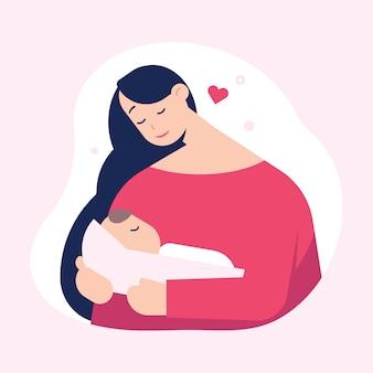 かわいい赤ちゃんを持つお母さん