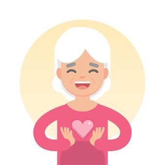 ハート記号、ヘルスケアの概念、文字ベクトル図を持って幸せな素敵な年配の女性。
