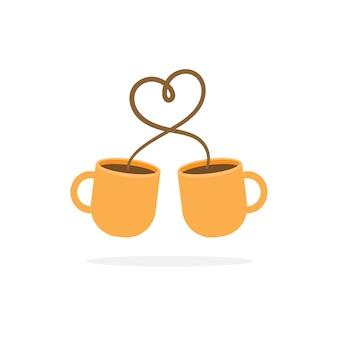 ハート記号とコーヒーカップ