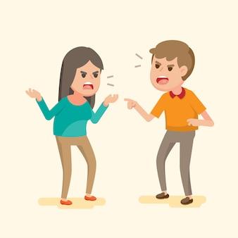 怒っている若いカップルがお互いに戦って叫んで