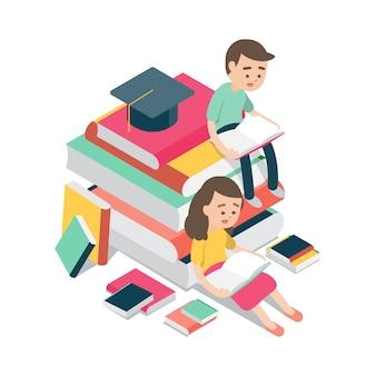 男の子と女の子に座って本を読む