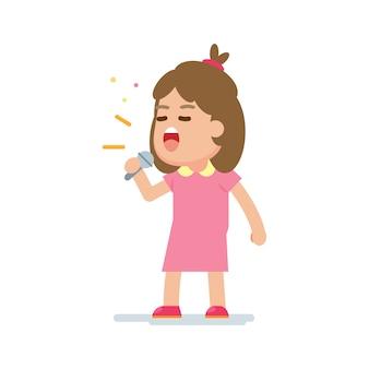 幸せなかわいい女の子が歌を歌う