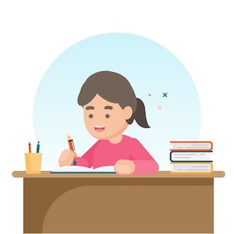 Счастливая милая школьница, пишущая для домашней работы