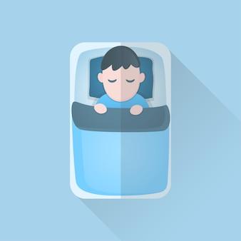 Молодой человек в одеяле, спать на кровати