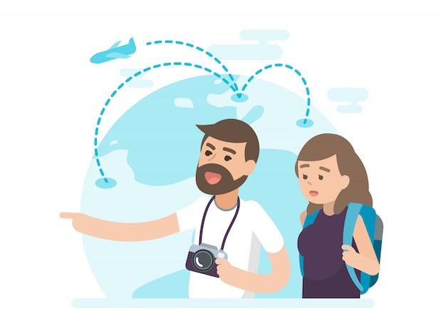Счастливая молодая пара в отпуске