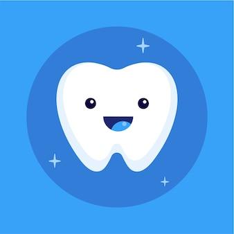 Милый счастливый улыбающийся зуб значок
