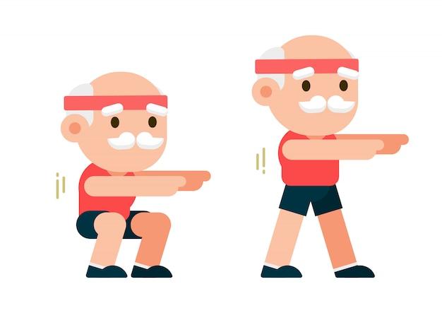 年配の男性が演習を行う