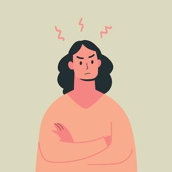 若い怒っている女性、気違い表現、ベクトルイラスト。