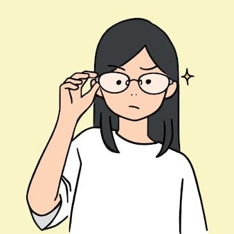 Симпатичная молодая девушка поднял очки вверх, рисованной иллюстрации стиль.