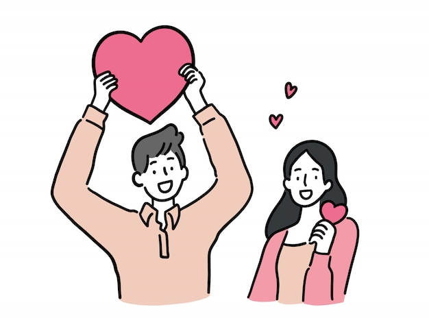 Мужчина и женщина, держащая сердце,