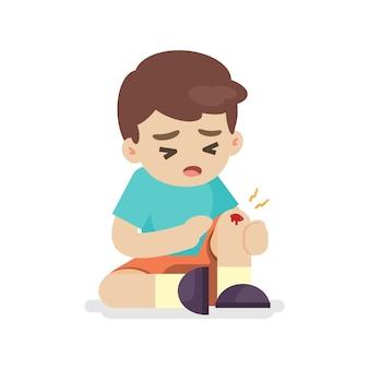 彼の足にあざを持つ少年