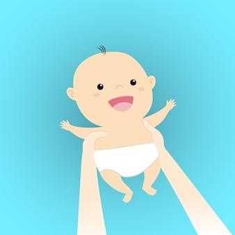 頭の上の手でかわいい漫画の赤ちゃんを保持