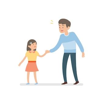 Счастливый отец и дочь, держа руку