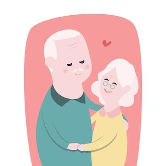 幸せな祖母と祖父