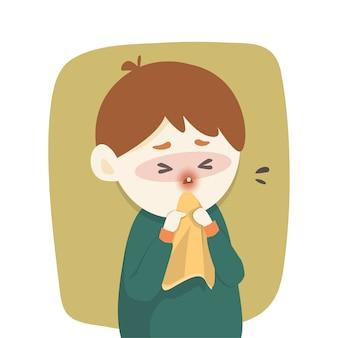 病気の男の子は鼻水