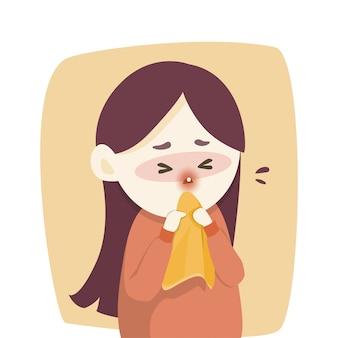 病気の女の子は鼻水