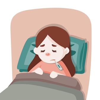 病気の子供の女の子がベッドで横になっています。