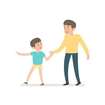 幸せな父と息子が一緒に歩きながら手を取り合って