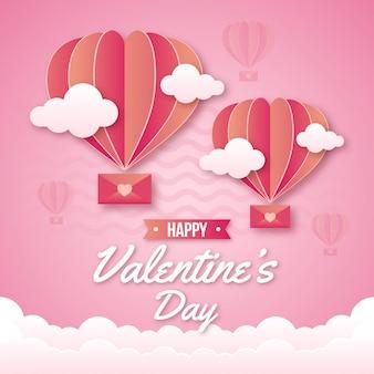 かわいい熱気球バレンタイン背景