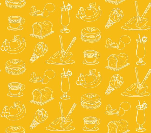 食べ物と飲み物シームレスなパターン