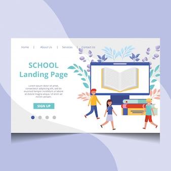 学生と学校のランディングページベクトル