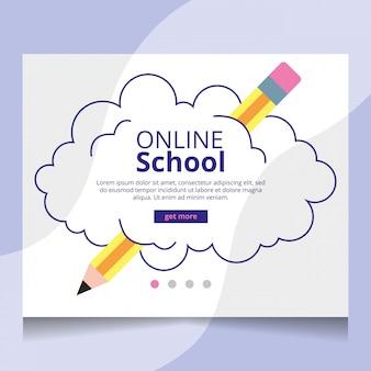 オンライン学校のランディングページベクトル