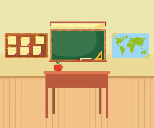 黒板と教室の家具