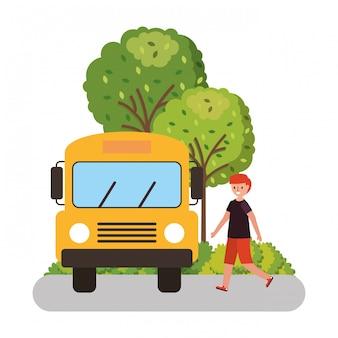 スクールバスを待つ子どもたち