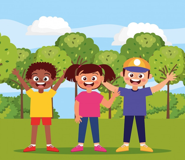 公園で幸せな子供たち