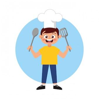Счастливый ребенок шеф-повар, улыбаясь мультфильм
