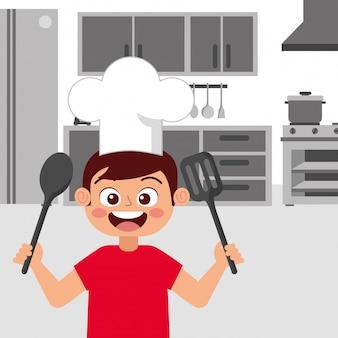 Счастливый ребенок шеф-повар, улыбаясь мультфильм вектор