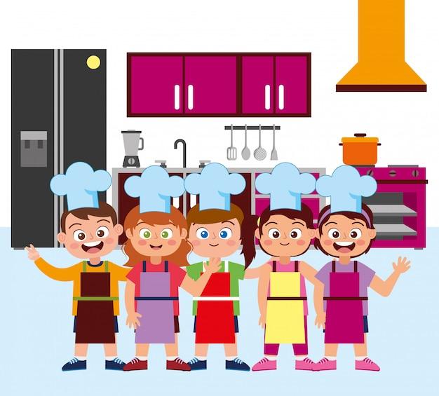Счастливые дети повара, улыбаясь мультфильм
