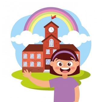 学校で手を振って笑って幸せな学生
