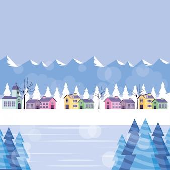 住宅と青い冬の山の風景