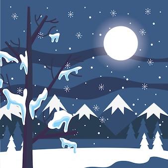 青い冬の山の風景