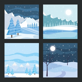 木カードと青い冬の風景